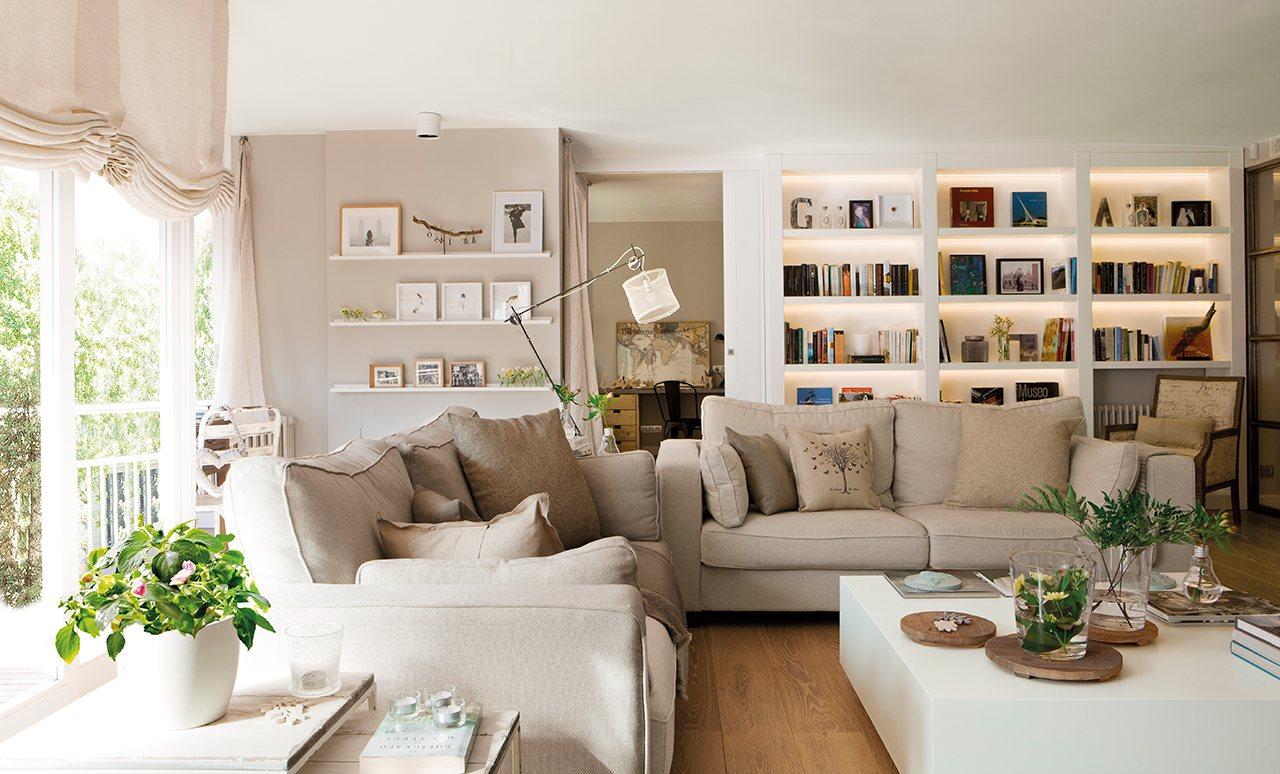 Gran sal n en blanco y arena blog tienda decoraci n for Decoracion de apartamentos pequenos 2016