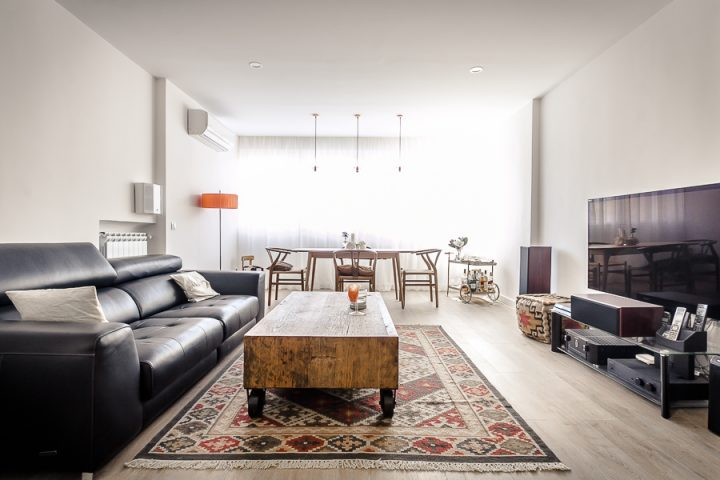 suelo hidráulico reforma madrid reforma integral peninsula cocina pared de cristal estilo nórdico diseño interiores decoración interiores cocina abierta antes después decoración