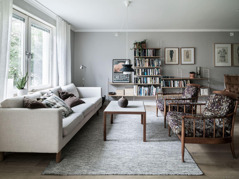 Sal n n rdico con sof liso y sillones estampados blog - Sillones para salon ...