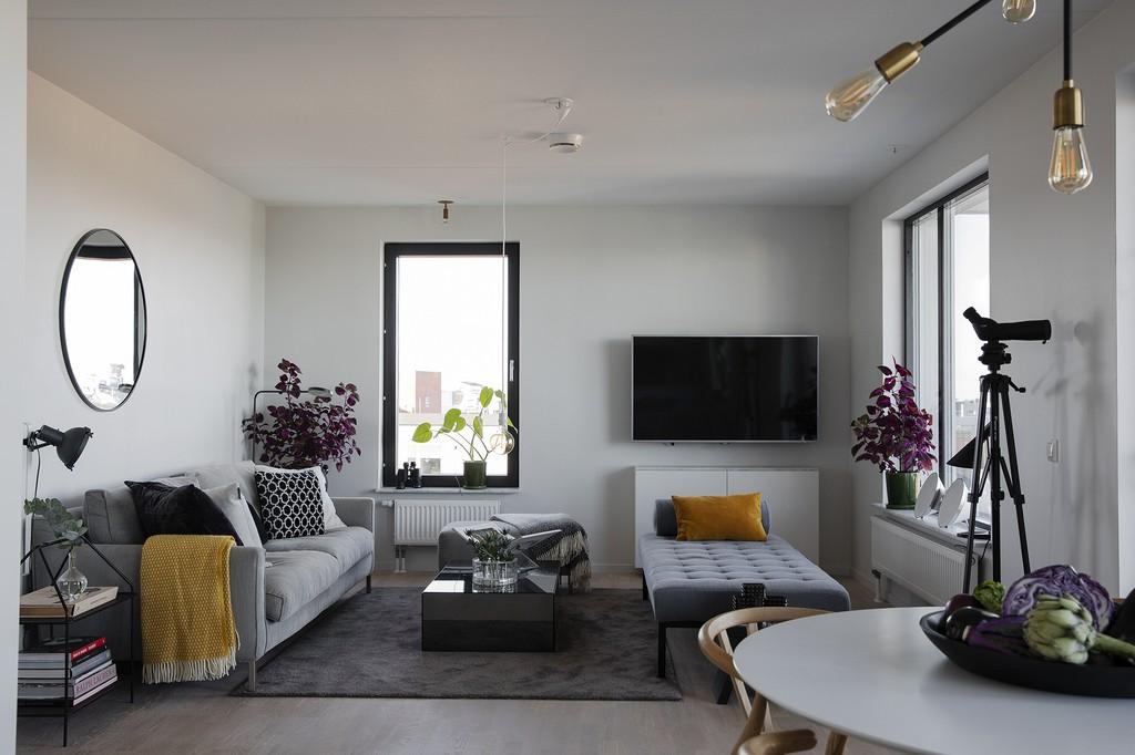salón nórdico piso nórdico piso en malmö estilo escandinavo estilo decorativo suecia decoración pisos pequeños camas de día cama de día salón