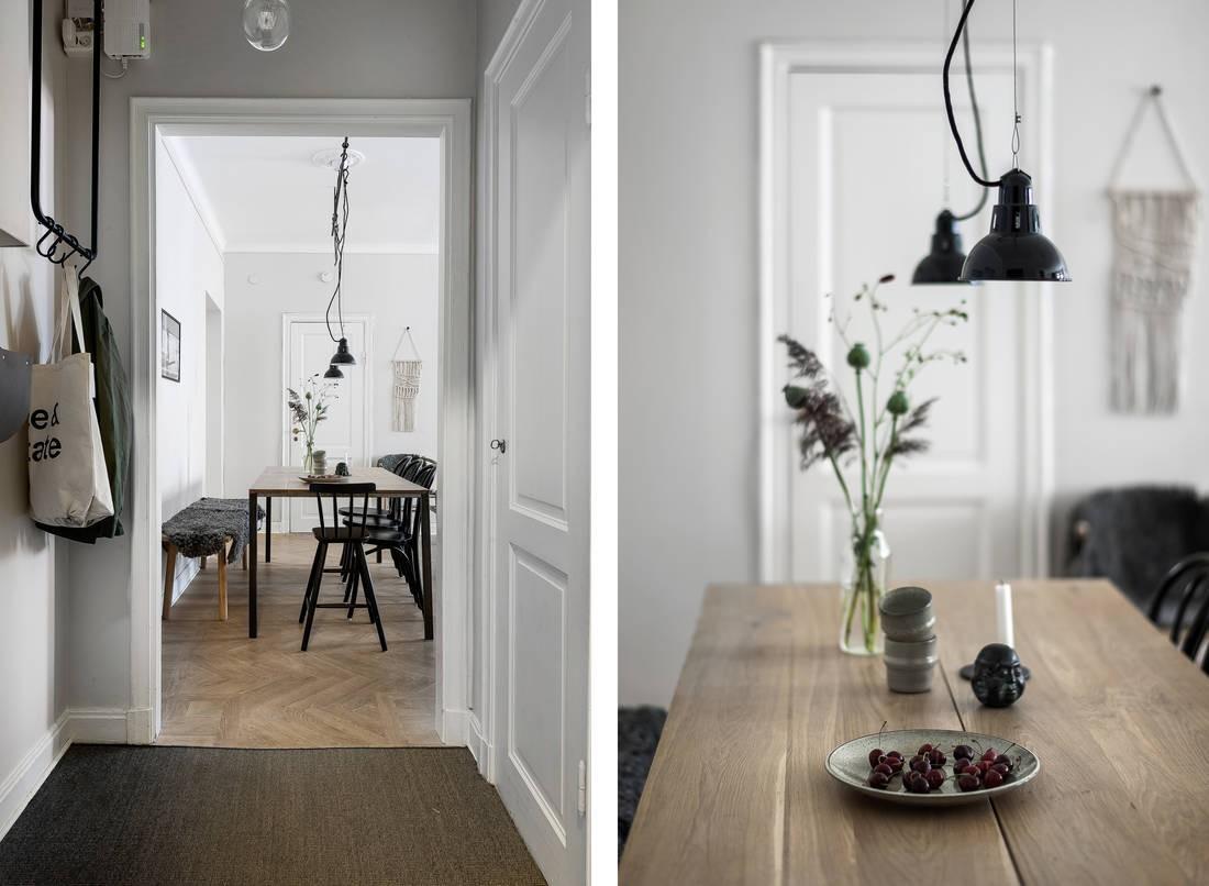 textiles hogar piso sueco pequeño paredes grises madera natural decoración estilo escandinavo decoración nordica cálida decoración en color gris