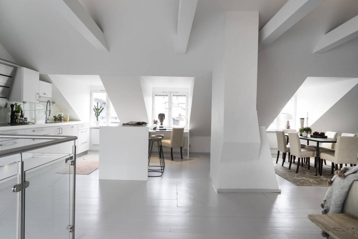 terraza nórdica estilo escandinavo dormitorios en piso inferior distribución diáfana diseño dúplex decoración dúplex