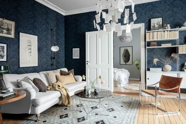 wallpaper piso escandinavo papel pared pintado papel de pared lámpara de diseño estantería string