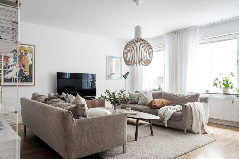 sofas nordicos sofás de tela sofás color neutro salón con dos sofás estilo escandinavo decoración nórdica cocina abierta