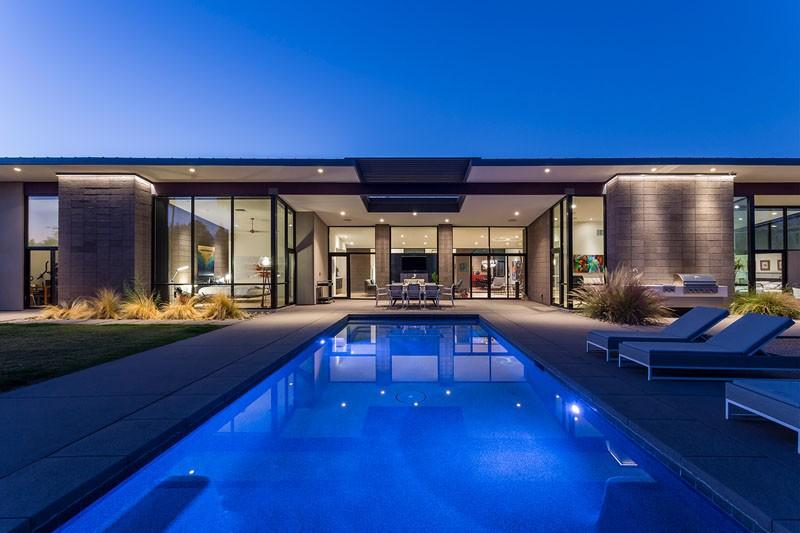 luxury home diseño exteriores piscina chimenea desert style casa en arizona casa de lujo