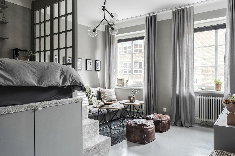 Apartamento de 34 m² con la cama elevada