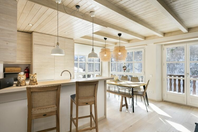 Apartamento de planta abierta de estilo nórdico con vistas a Baqueira